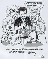 Trudeau omaggia Enzo Baldoni per il suo compleanno con i personaggi di Doonesbury, 1998.