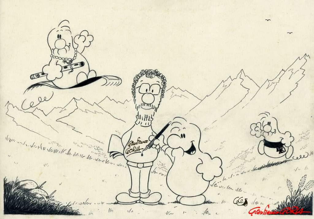 Gianfranco e i BABs in montagna - matita - 2 maggio 1991 - (c) Gianfranco Goria