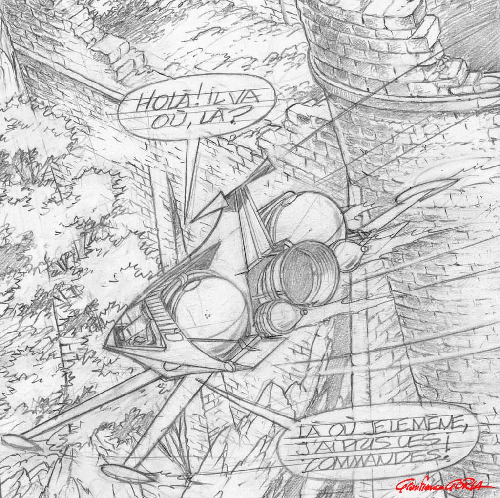 Disegno di Roger Leloup per la serie Yoko Tsuno.