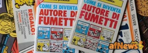 Come si diventa autore di fumetti - foto Goria, serie Fumetto su Fumetto. Nel luglio 1983 la rivista di fumetti Eureka cambia molto. Entrano Alfredo Castelli e Silver a curarla e, con l'occasione, viene allegato un libriccino, mitico, scritto da Castelli e disegnato da Silver. Qui vedete l'originale, la copia anastatica offerta diversi anni più tardi dall'Anonima Fumetti ai suoi soci, e il numero di Eureka in questione, il tutto sullo sfondo del calendario di Blake e Mortimer 2010, naturalmente aperto alla pagina di luglio.