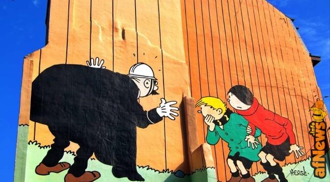 Vita e morte di una facciata di Bruxelles decorata con un disegno di Hergé