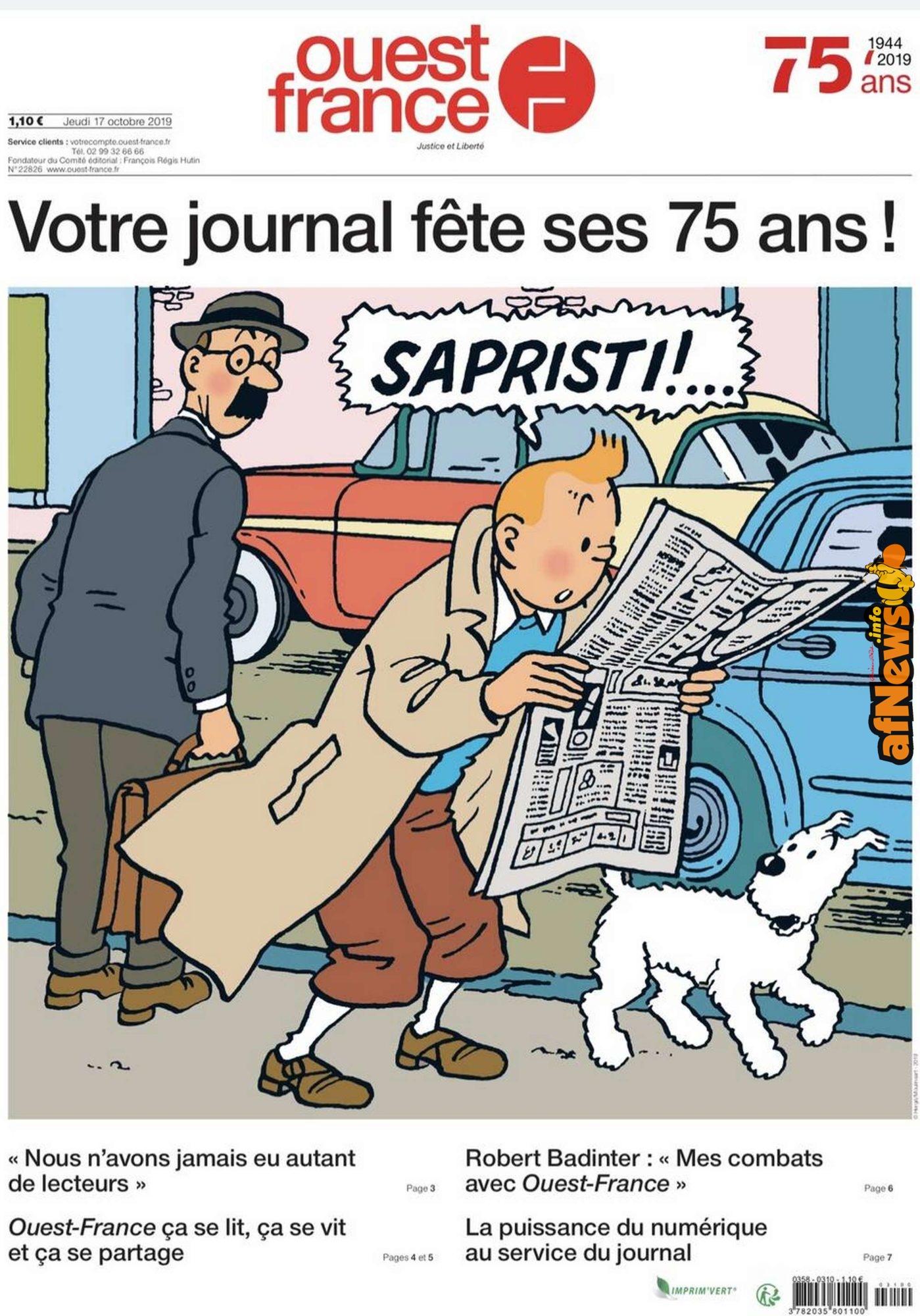 Il quotidiano Ouest-France festeggia i propri 75 anni con Tintin! - afnews.info